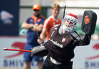 RAIPUR (India) . Oranje trainde vandaag licht voor de halve finalewedstrijd tegen Australie van morgen in  Hockey World League finale ronde.  keeper Jaap Stockmann tijdens het oefen van de strafcorner.  ANP KOEN SUYK