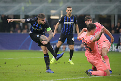 November 6, 2018 - Milan, Milan, Italy - Mauro Icardi #9 of FC Internazionale Milano scores his goal during  the UEFA Champions League group B match between FC Internazionale and FC Barcelona at Stadio Giuseppe Meazza on November 06, 2018 in Milan, Italy. (Credit Image: © Giuseppe Cottini/NurPhoto via ZUMA Press)