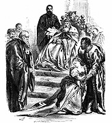 Shakespeare 'Othello' Act 1: Brabantio agrees to his daughter Desdemona's marriage to Othello. 19th century engraving.
