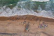 Aerial view of Surf Lifesaver trainees, Ballinger Beach, Sunshine Coast, Queensland, Australia