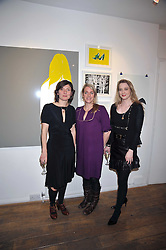 Left to right, artist NATASHA LAW, LAURA PARKER-BOWLES and DAISY DE VILLENEUVE at a private view entitled 'No Love Lost' by artists Daisy de Villeneuve and Natasha Law held at Eleven, 11 Eccleston Street, London SW1 on 31st March 2009.