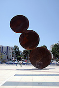 Israel, Tel Aviv, urban statue (Rising) by Menashe Kadishman in front of the Habimah National theater