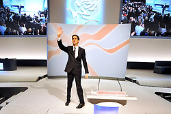 © Licensed to London News Pictures. 27/09/2011. LONDON, UK. David Miliband, Leader of the Labour Party waves to the delegates after delivering his leaders speech at The Labour Party Conference in Liverpool today (27/09/11). Photo credit:  Stephen Simpson/LNP
