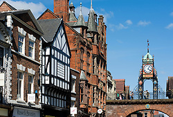 Old buildings and famous clock at Eastgate in Chester in England 2008