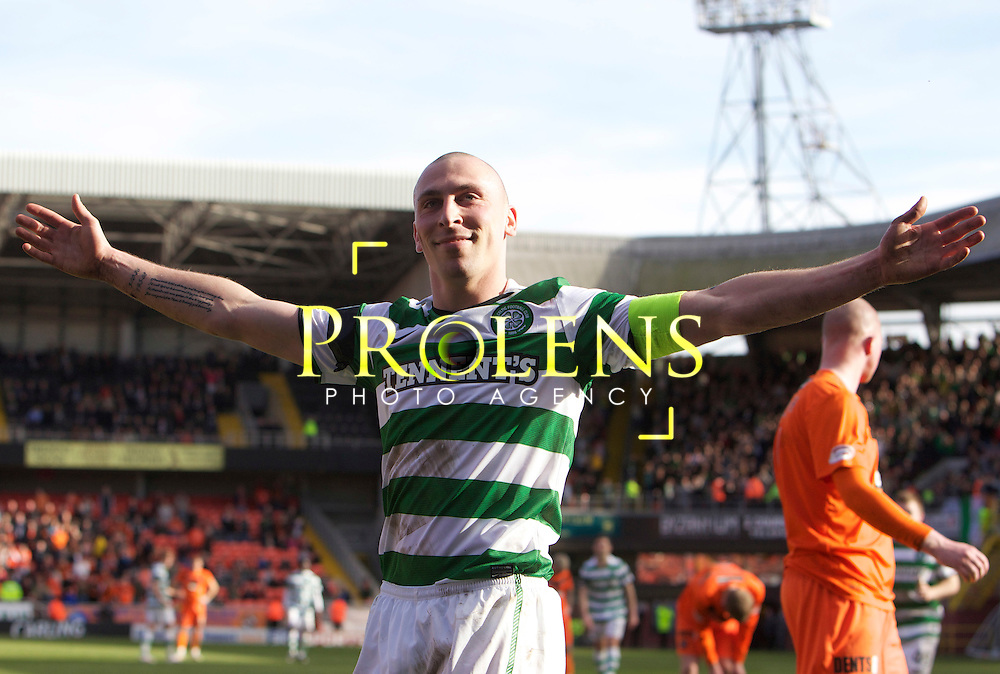 SFA, SPL WILLIAM HILL  SCOTTISH  FA CUP  6th round, Season 2011-12  DUNDEE UNITED   FC v CELTIC  FC..11-03-12..  .Celtic's Scott Brown celebrates after scoring from the spot to make it 4-0  During the William Hill Scottish Cup 6th Round match between (SPL) Clydesdale Bank Premier League teams Dundee United FC and Celtic FC. As Celtic look to maintain thier chances of a domestic clean sweep and treble.. At Tannadice Stadium, Dundee.Picture, Mark Davison/ Prolens Photo Agency/PLPA.<br /> Sunday 11th March 2012