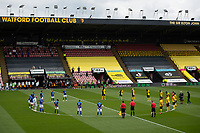 Football - 2019 / 2020 Premier League - Watford vs. Leicester City<br /> <br /> Players observing a minute's silence for the NHS before the game, at Vicarage Road.<br /> <br /> COLORSPORT/ASHLEY WESTERN