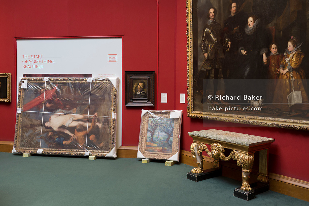 Paintings await hanging in the Scottish National Gallery on The Mound in Edinburgh, on 25th June 2019, in Edinburgh, Scotland. The Scottish National Gallery displays some of the greatest art in the world, including masterpieces by Botticelli, Raphael, Titian, Rembrandt, Vermeer, Constable, Turner, Monet, Van Gogh and Gauguin, amongst many others.