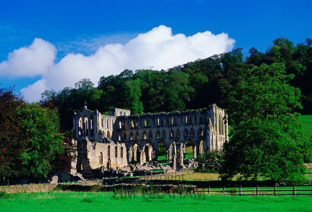 Ruins of Rievaulx Abbey, a 12th Century Abbey  founded by Cistercian monks in North Yorkshire in the Valley of the River Rye, England