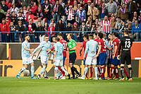 Atletico de Madrid's players and Celta de Vigo's players during La Liga Match at Vicente Calderon Stadium in Madrid. May 14, 2016. (ALTERPHOTOS/BorjaB.Hojas)