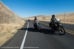Paul Ousey on his 1925 Harley-Davidson JE during Buzz Kanter on his 1936 Harley-Davidson VLH during Stage 15 (244 miles) of the Motorcycle Cannonball Cross-Country Endurance Run, which on this day ran from Lewiston, Idaho to Yakima, WA, USA. Saturday, September 20, 2014.  Photography ©2014 Michael Lichter.