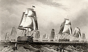 Crimean (Russo-Turkish) War 1853-1856. The British fleet in the Baltic. Engraving c1860. Shipping. Naval. Sail. Transitional vessel.
