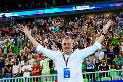 Metod Ropret, president of OZS, celebrate during volleyball match between Cuba and Slovenia in Final of FIVB Volleyball Challenger Cup Men, on July 7, 2019 in Arena Stozice, Ljubljana, Slovenia. Photo by Matic Klansek Velej / Sportida