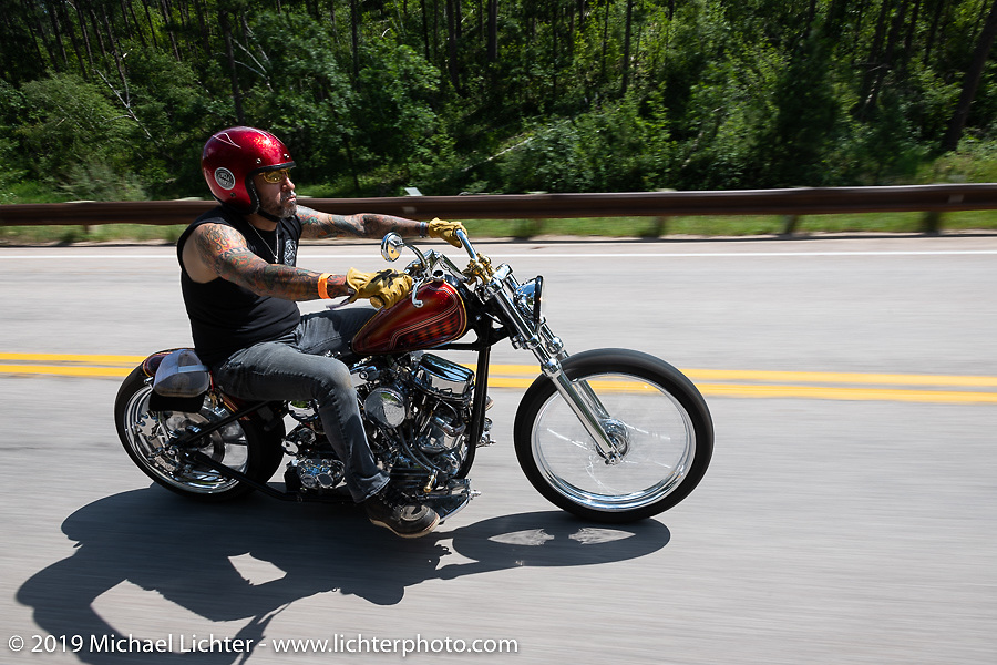 Xavier Muriel riding Grace, his Harley-Davidson Pan-Shovel custom on the Cycle Source Ride up Vanocker Canyon to Nemo during the Sturgis Black Hills Motorcycle Rally. SD, USA. Wednesday, August 7, 2019. Photography ©2019 Michael Lichter.