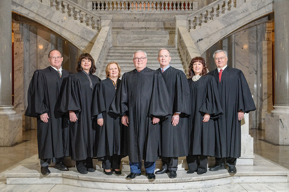 The Kentucky Supreme Court is photographed following the addition of Justice Christopher Shea Nickell, Thursday, Dec. 12, 2019, in the Supreme Court Courtroom in Frankfort, Ky. (AOC photo/Brian Bohannon)