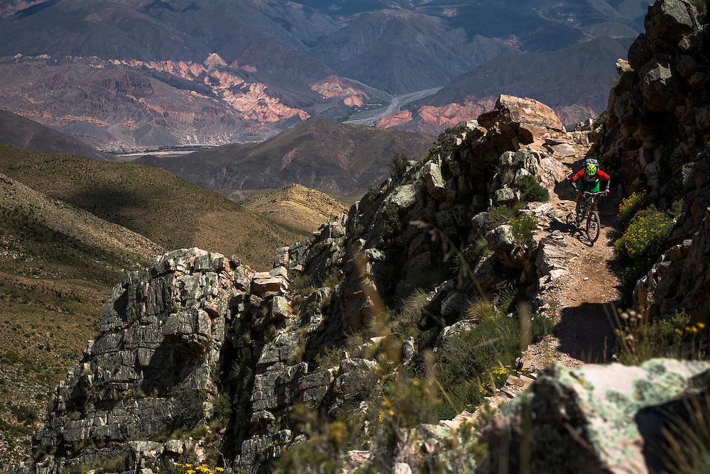 Tibor Simai, day 1 of a 3-day mountain traverse, Tilcara, Argentina.
