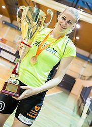 Maja Erkic of Athlete Celje celebrates after winning during basketball match between ZKK Athlete Celje and ZKK Triglav in Finals of 1. SKL for Women 2014/15, on April 20, 2015 in Gimnazija Celje Center, Celje, Slovenia. ZKK Athlete Celje became Slovenian National Champion 2015. Photo by Vid Ponikvar / Sportida