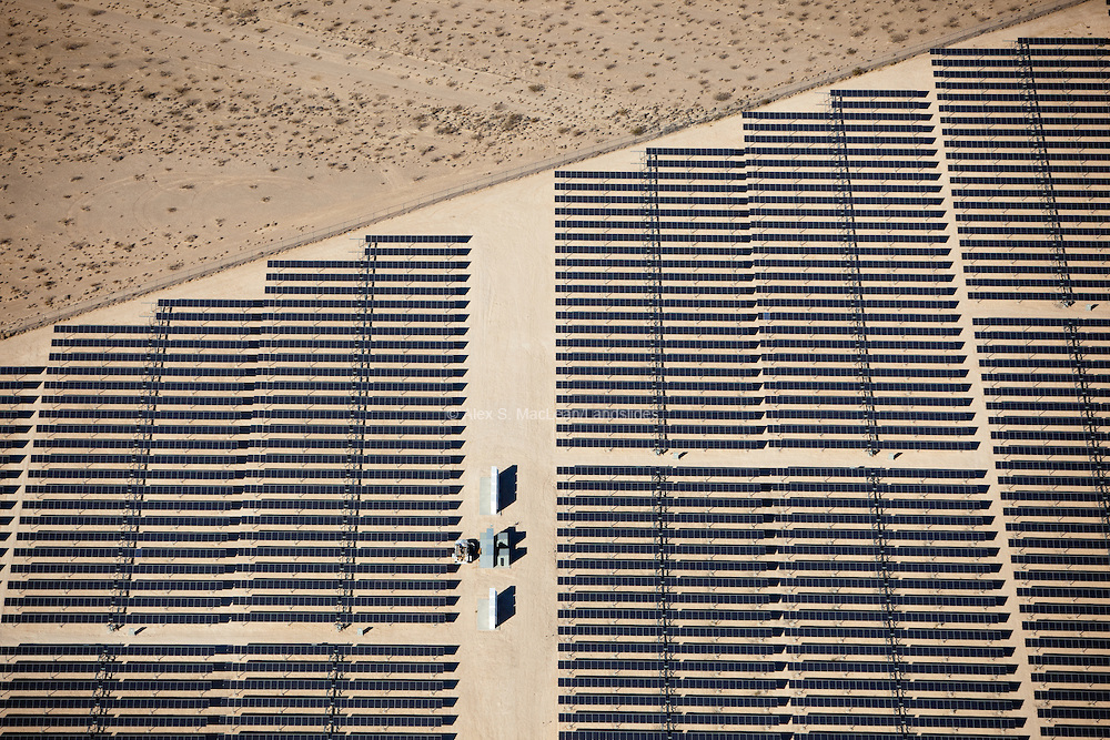 Solar collectors and cells at Star Nellis Air Force Base in Nevada.