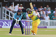 Ellyse Perry of Australia (8) drives strongly during the Royal London Women's One Day International match between England Women Cricket and Australia at the Fischer County Ground, Grace Road, Leicester, United Kingdom on 4 July 2019.