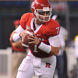 Dec 19, 2009; St. Petersburg, Fla., USA; Rutgers quarterback Tom Savage (7) scrambles from the pocket during NCAA Football action in Rutgers' 45-24 victory over Central Florida in the St. Petersburg Bowl at Tropicana Field.