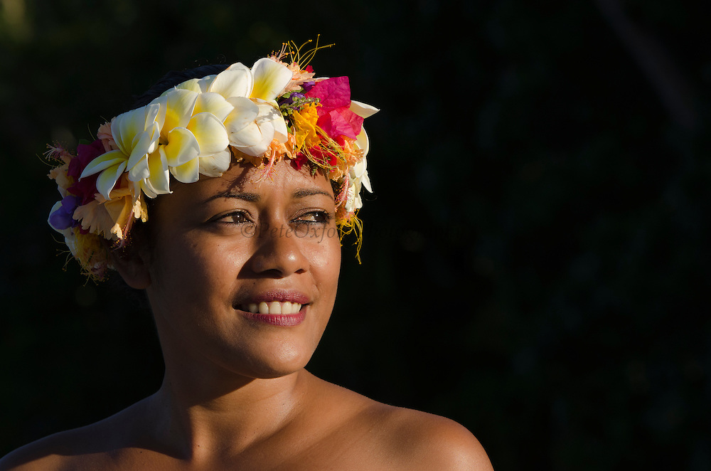Local woman and flower garland<br /> Kathleen Manueli<br /> Fiji. South Pacific<br /> Model Release # FJ-14-1