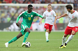 MOSCOW, June 19, 2018  Ismaila Sarr (L) of Senegal vies with Grzegorz Krychowiak of Poland during a Group H match between Poland and Senegal at the 2018 FIFA World Cup in Moscow, Russia, June 19, 2018. Senegal won 2-1. (Credit Image: © Ye Pingfan/Xinhua via ZUMA Wire)