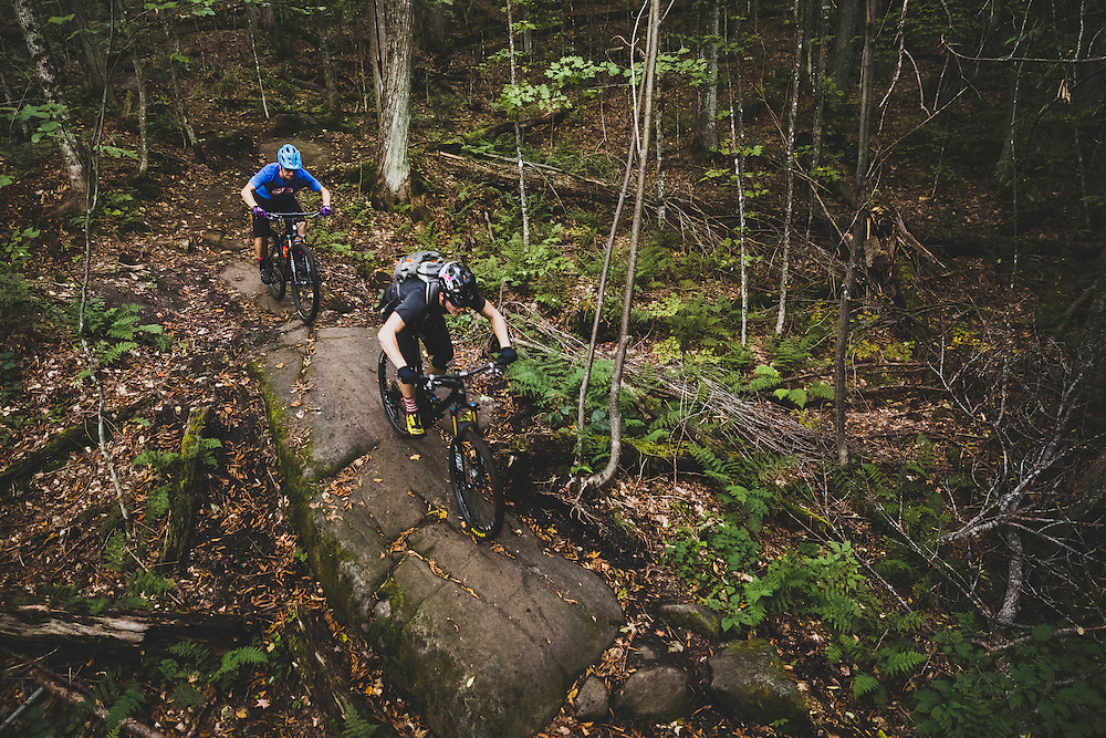 Bill Frazer and Alex Goff biking Heaven Hill, Lake Placid, New York.