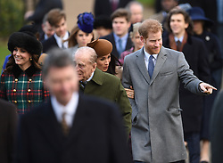 (Left-right) The Duchess of Cambridge, the Duke of Edinburgh, Meghan Markle and Prince Harry arriving to attend the Christmas Day morning church service at St Mary Magdalene Church in Sandringham, Norfolk.