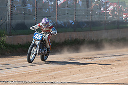 Hooligan flattracker JJ Flairty on his Harley-Davidson racer in the Spirit of Sturgis races at the fairgrounds during the Sturgis Black Hills Motorcycle Rally. Sturgis, SD, USA. Monday, August 5, 2019. Photography ©2019 Michael Lichter.