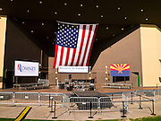 13 FEBRUARY 2012 - MESA, AZ:  Mitt Romney's stage in the Mesa Amphitheatre. Several thousand people crowded into the amphitheatre in Mesa, AZ, Monday night to hear Republican Presidential candidate Mitt Romney speak. Romney, a Mormon, is expected to win in Arizona, which has a large Mormon population. Arizona's Republican Presidential primary is February 28.       PHOTO BY JACK KURTZ