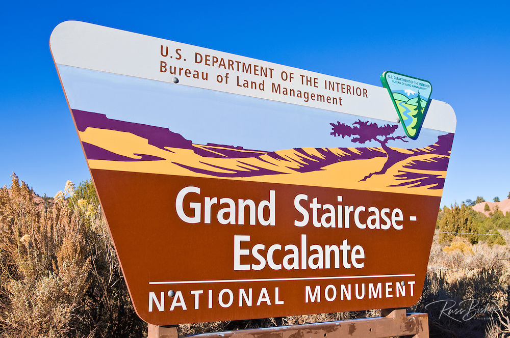 Entrance sign at Grand Staircase-Escalante National Monument, Utah