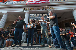 Moonshiner Josh Owens on stage before the start of the Legends Ride from Deadwood during the 75th Annual Sturgis Black Hills Motorcycle Rally.  SD, USA.  August 3, 2015.  Photography ©2015 Michael Lichter.