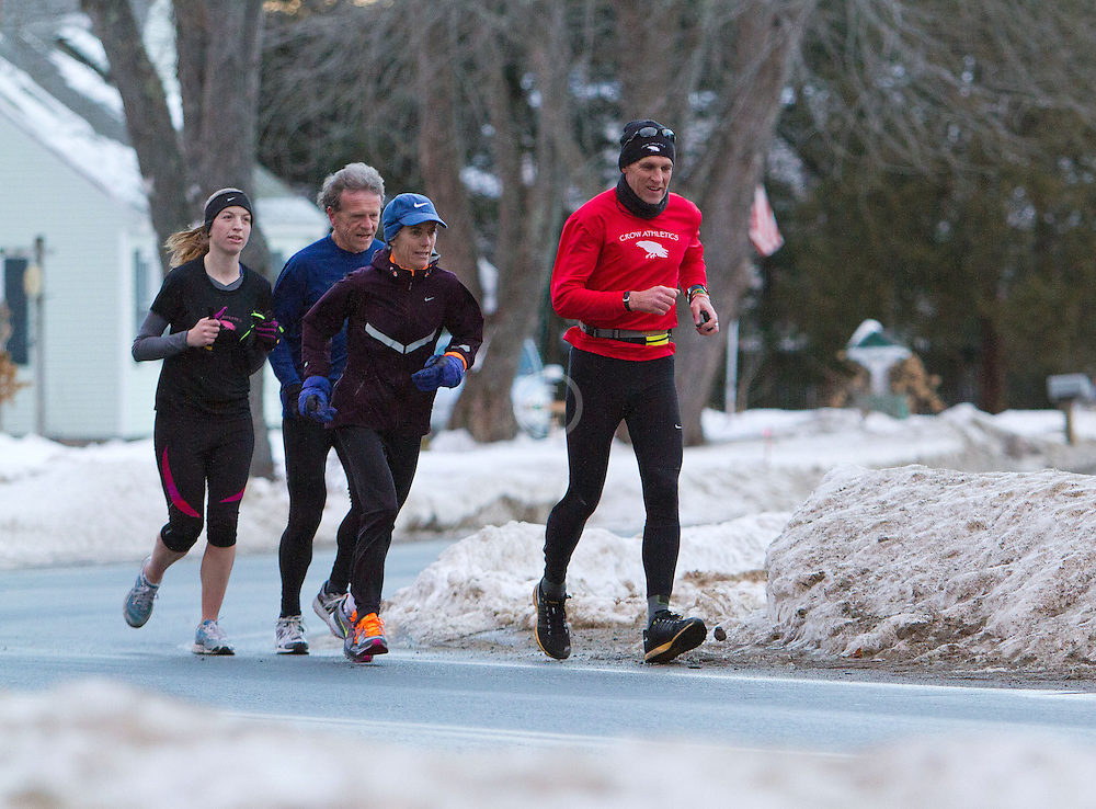 Gary Allen runs from Maine to Washington DC, (R-L) Gary Allen (Northeast Harbor), Joan Samuelson (Freeport), Bob Dunfey (Cape Elizabeth), Sarah Emerson (Westbrook) run together early in the morning on Church Street in Brunswick