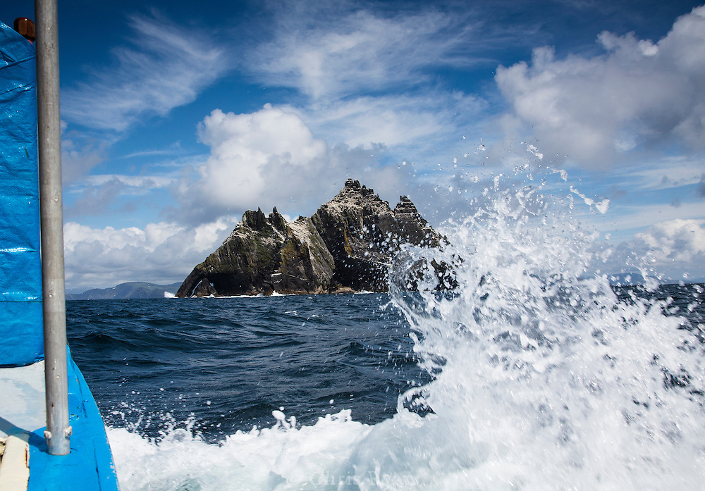 Little Skellig topped with gannets, seen from the sea, County Kerry, Ireland