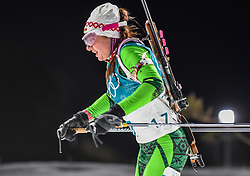 February 12, 2018 - Pyeongchang, Gangwon, South Korea - Iryna Kryuko of Belarus competing at Women's 10km Pursuit, Biathlon, at olympics at Alpensia biathlon stadium, Pyeongchang, South Korea. on February 12, 2018. Ulrik Pedersen/Nurphoto  (Credit Image: © Ulrik Pedersen/NurPhoto via ZUMA Press)