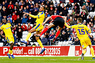 Wimbledon defender Terell Thomas (6) clears the danger  during the EFL Sky Bet League 1 match between Sunderland and AFC Wimbledon at the Stadium Of Light, Sunderland, England on 2 February 2019.