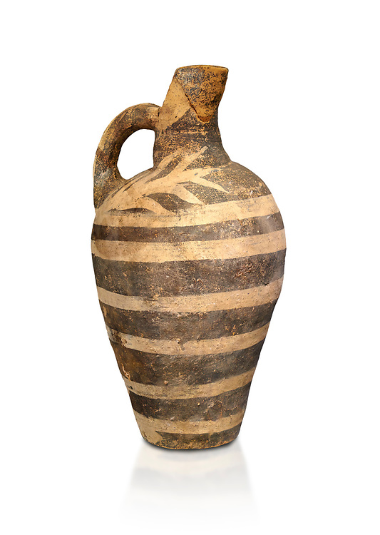 Minoan decorated Kamares  style jug with comncentric ring pattern, Poros cemetery 1800-1650 BC; Heraklion Archaeological  Museum, white background. .<br /> <br /> If you prefer to buy from our ALAMY PHOTO LIBRARY  Collection visit : https://www.alamy.com/portfolio/paul-williams-funkystock/minoan-art-artefacts.html . Type -   Heraklion   - into the LOWER SEARCH WITHIN GALLERY box. Refine search by adding background colour, place, museum etc<br /> <br /> Visit our MINOAN ART PHOTO COLLECTIONS for more photos to download  as wall art prints https://funkystock.photoshelter.com/gallery-collection/Ancient-Minoans-Art-Artefacts-Antiquities-Historic-Places-Pictures-Images-of/C0000ricT2SU_M9w