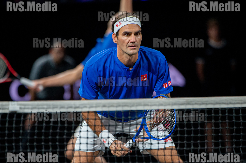 GENEVA, SWITZERLAND - SEPTEMBER 20: Roger Federer of Team Europe looks on during Day 1 of the Laver Cup 2019 at Palexpo on September 20, 2019 in Geneva, Switzerland. The Laver Cup will see six players from the rest of the World competing against their counterparts from Europe. Team World is captained by John McEnroe and Team Europe is captained by Bjorn Borg. The tournament runs from September 20-22. (Photo by Robert Hradil/RvS.Media)