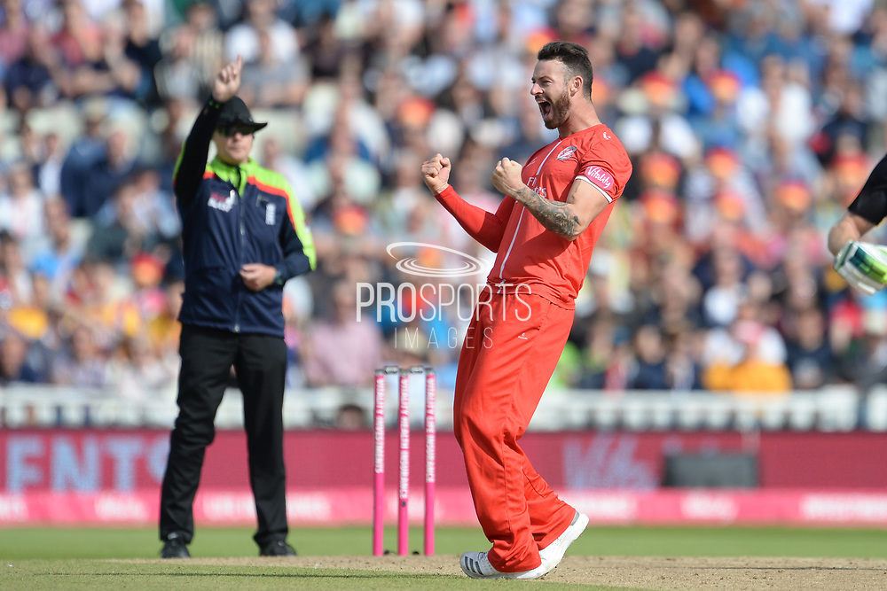 Jordan Clark of Lancashire Lightning celebrates the wicket of Daryl Mitchell during the Vitality T20 Finals Day Semi Final 2018 match between Worcestershire Rapids and Lancashire Lightning at Edgbaston, Birmingham, United Kingdom on 15 September 2018.
