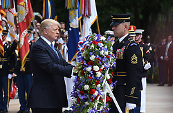 May 29, 2017 - Arlington, VA, USA - President Donald Trump participates in a wreath-laying ceremony at the Tomb of the Unknown Soldier at Arlington National Cemetery on Memorial Day, May 29, 2017 in Arlington, Va. (Credit Image: © Olivier Douliery/TNS via ZUMA Wire)