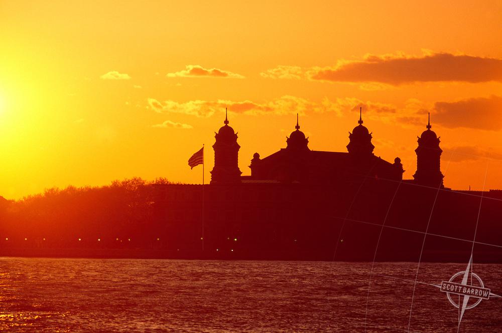 Sunset behind Ellis Island, NY