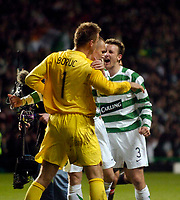 Photo: Jed Wee.<br /> Glasgow Celtic v Manchester United. UEFA Champions League, Group F. 21/11/2006.<br /> <br /> Celtic celebrate with goalkeeper Artur Boruc at the end of the game.