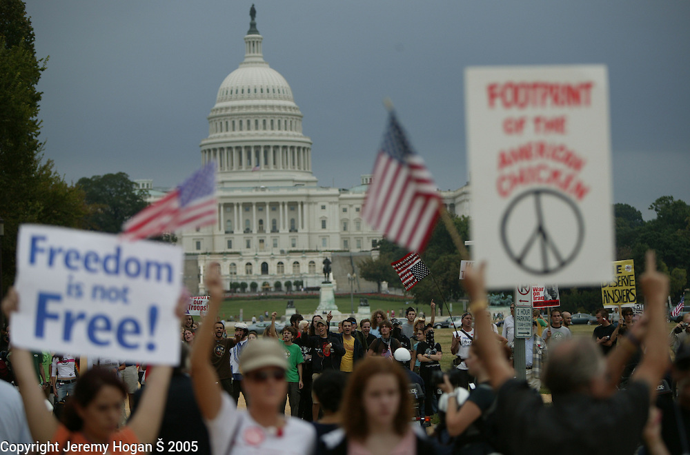 During a support our troops rally at the National Mall supporters of the war in Iraq counter protest anti war protester across 4th Street.