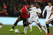 Romelu Lukaku of Manchester Utd (l) holds off Leroy Fer of Swansea city.  EFL Carabao Cup 4th round match, Swansea city v Manchester Utd at the Liberty Stadium in Swansea, South Wales on Tuesday 24th October 2017.<br /> pic by  Andrew Orchard, Andrew Orchard sports photography.