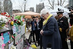 Lieutenant Governor of Ontario Elizabeth Dowdeswell visits a memorial on Yonge Street the day after a driver drove a rented van down sidewalks Monday afternoon, striking pedestrians in his path in Toronto, Tuesday, April 24, 2018. Photo by Galit Rodan/CP/ABACAPRESS.COM