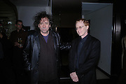 Tim Burton and Danny Elknap. 'Maze' Gordon Ramsay  restaurant launch. 10-13 Grosvenor Square. London. 24 May 2005. ONE TIME USE ONLY - DO NOT ARCHIVE  © Copyright Photograph by Dafydd Jones 66 Stockwell Park Rd. London SW9 0DA Tel 020 7733 0108 www.dafjones.com