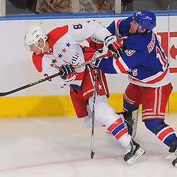 April 7, 2012: New York Rangers center Brad Richards (19) checks Washington Capitals center Jay Beagle (83) to the ice during third period NHL hockey action between the Washington Capitals and the New York Rangers at Madison Square Garden in New York, N.Y.