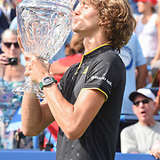 ALEXANDER ZVEREV holds the trophy after winning the men's singles final at the Citi Open at the Rock Creek Park Tennis Center in Washington, D.C. Zverev beat Kevin Anderson 6-4, 6-4.