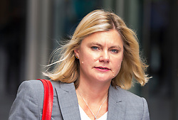 © Licensed to London News Pictures. 06/09/2015. London, UK. Secretary of State for International Development JUSTINE GREENING leaving at BBC Broadcasting House in London after appearing on radio 5 Live to discuss the current migrant crisis in Europe. Photo credit: Ben Cawthra/LNP