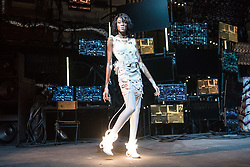 Winnie Harlow on the catwalk during the Nicholas Kirkwood Spring/Summer 2019 London Fashion Week show in Ambika P3, London. Picture date: Sunday September 16th, 2018. Photo credit should read: Matt Crossick/ EMPICS Entertainment.