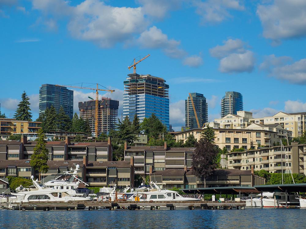 United States, Washington, Bellevue. Skyline view from Lake Washington.